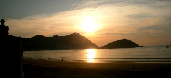 sunset in San Sebastian Spain