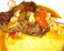 slow-braised lamb shanks on creamy polenta
