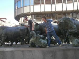 Running of the Bulls statue in Pamplona