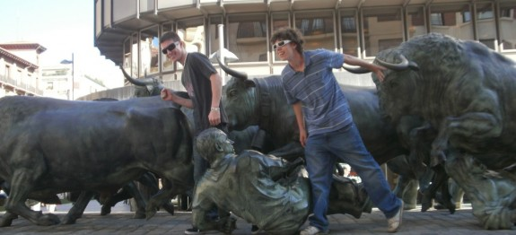 Running of the Bulls statue in Pamplona