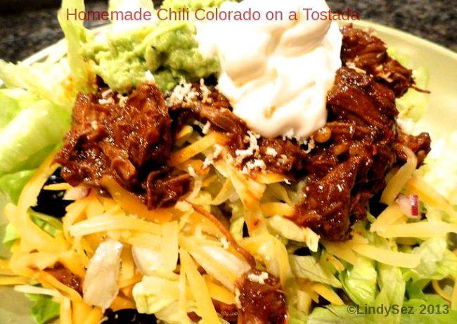 Homemade Chili Colorado as a tostada