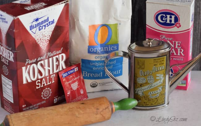 The ingredients needed to make this recipe for Basic Pizza Dough.