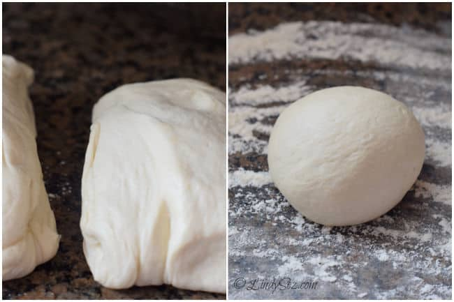 Basic Pizza Dough halved, and then rolled into a ball to rest.