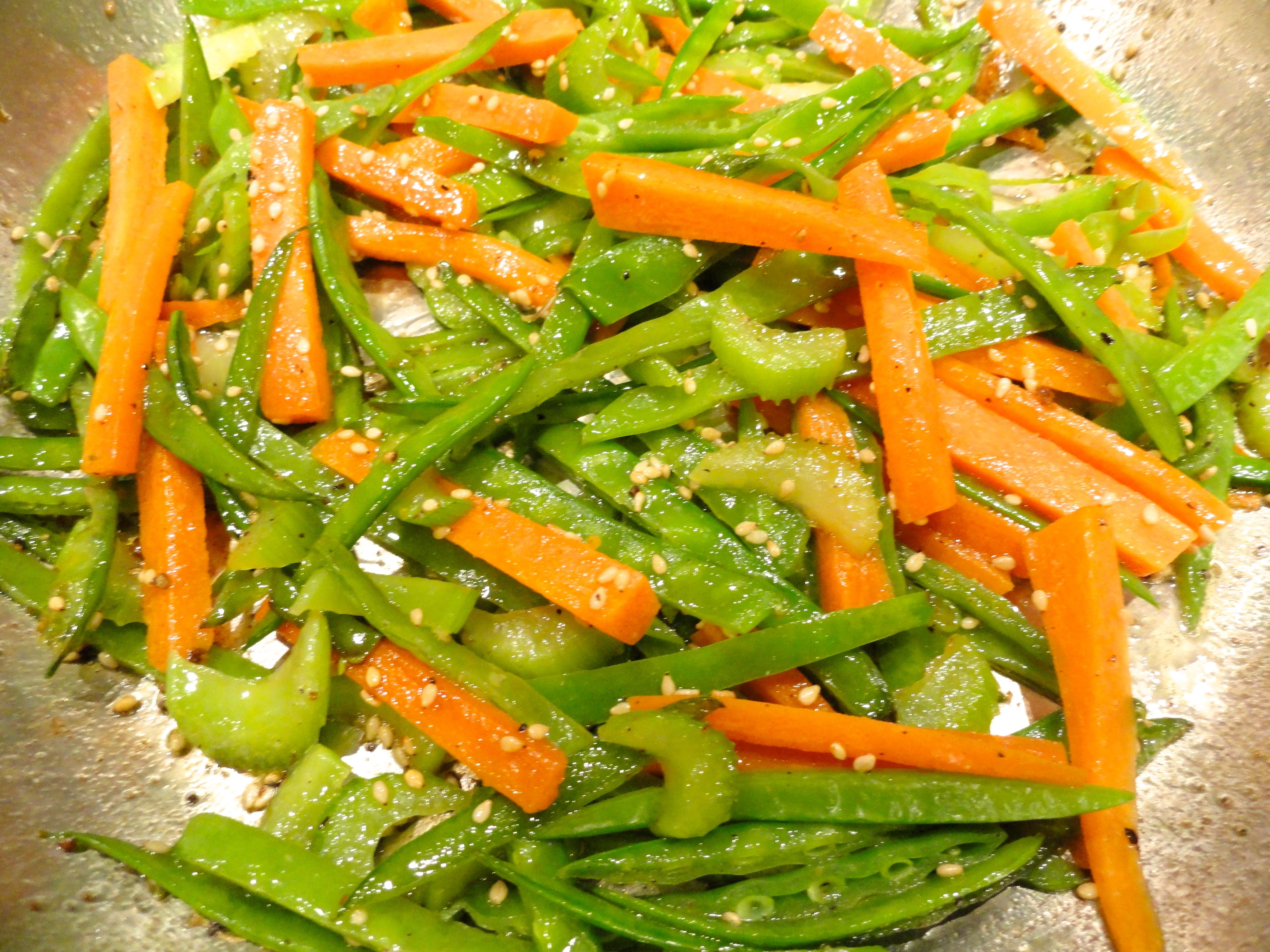Carrot Snow Pea and Celery Stir Fry - LindySez | Recipes, Tips, Blog