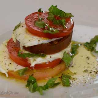 Layers of tomato flavor shown for this classic caprese salad.