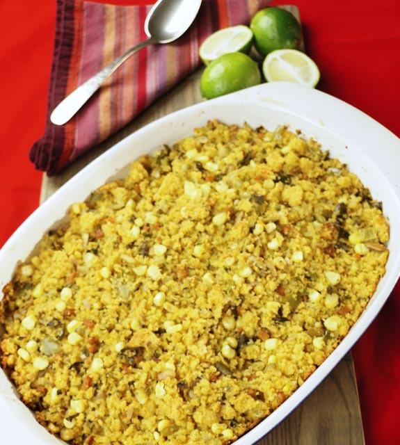 Lindy's Southwestern Cornbread Stuffing in a casserole