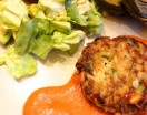 Crab Cakes with Piquillo Pepper Aioli on plate