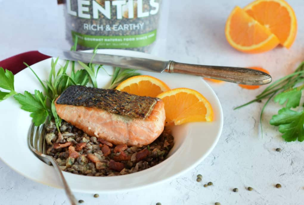 Crispy Skin Salmon on a bed of lentils with bacon.