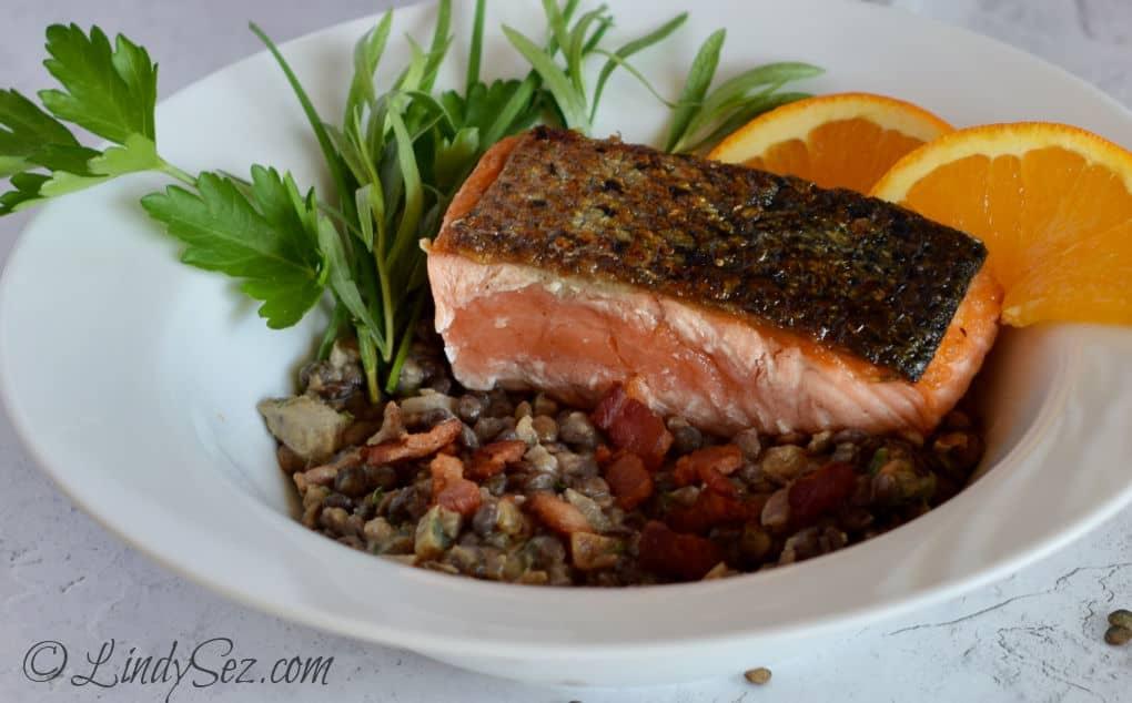 Crispy Skin Salmon on Lentils done rare.