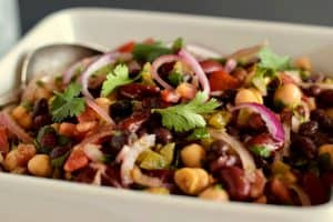 A bowl with a colorful 3-bean salad