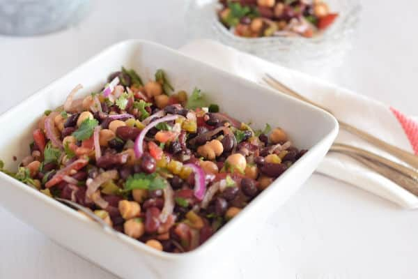 Low-Fat Spicy Mexican Style 3-Bean Salad plated and in a white bowl