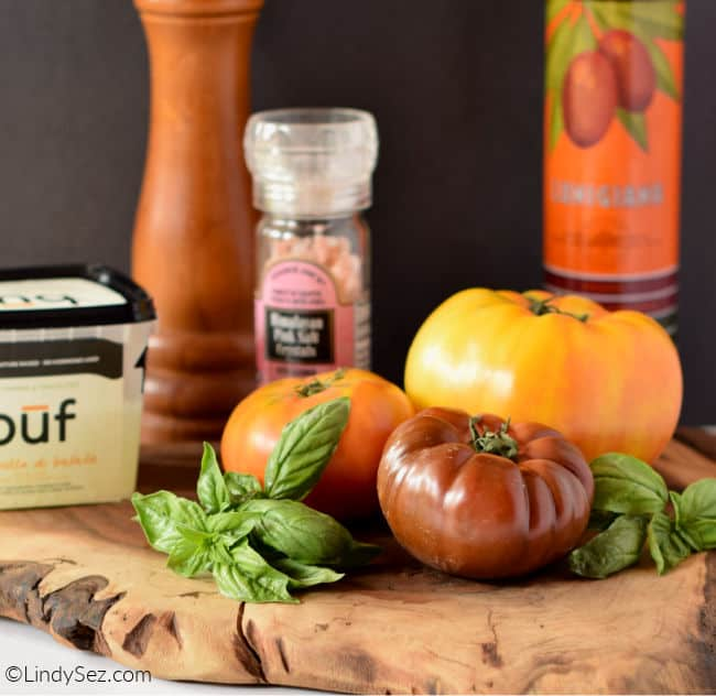 All the ingredients needed to make a classic caprese salad.