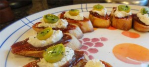 plate full of Lindy's Crostini with Heirloom Tomato Jam and Fresh Homemade Ricotta