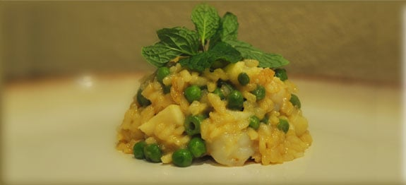 Thai inspired red curry seafood risotto.