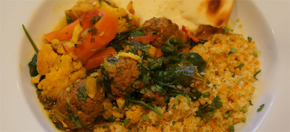Lindy's Tangine of Spicy Kefta (Meatballs) and Vegetables