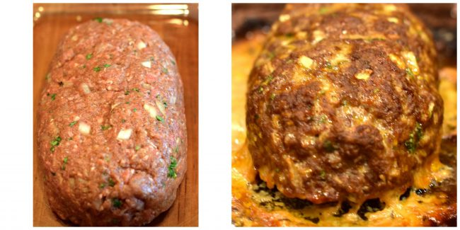 Lindy's Meatloaf collage cooked and uncooked