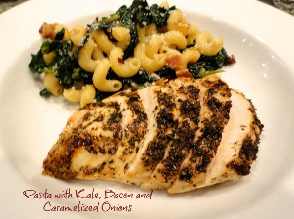 Pasta with Kale, Bacon and Caramelized Onions