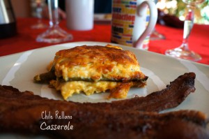 Chile rellano casserole on a plate read to be eaten.
