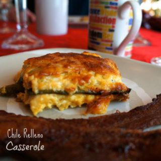 Chili relleno casserole on a Christmas table.