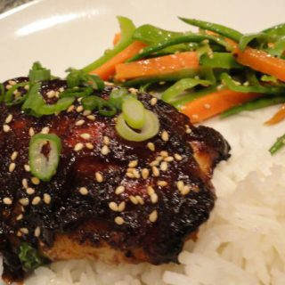 Chinese-Style Baked Chicken Thighs served