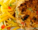crab cake with mango slaw