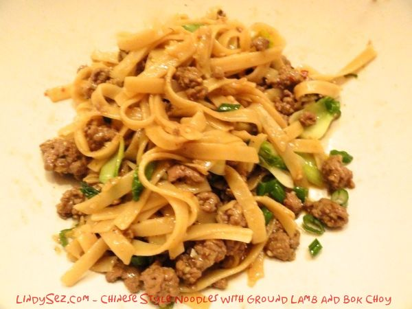 Chinese Style Noodles with Ground Lamb and Bok Choy