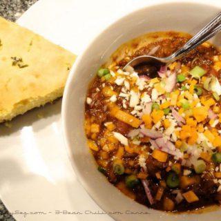 3-Bean Chili con Carne with a slde of cornbread.