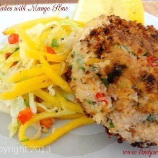 Crab Cakes with Mango Slaw