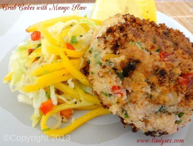 Crab Cakes with Mango Slaw
