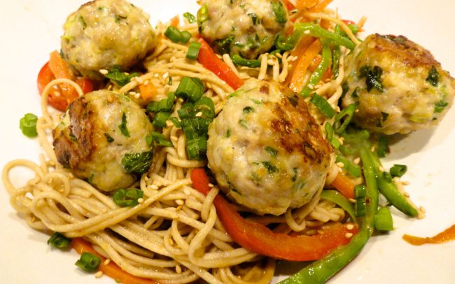 Ginger Pork Meatballs on Soba Noodles with Peanut Sauce close