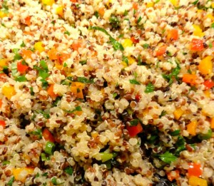 quinoa pilaf cooked with peppers and herbs