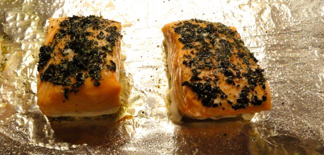 slow baked salmon fillets cooked