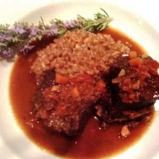 slow-braised beef short ribs with rosemary risotto