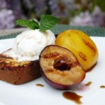 Toasted Polenta Cake with Glazed Stone Fruit and Olive Oil Vanilla Ice Cream
