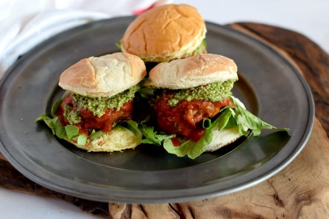 Meatball Slider with different buns on a platter.