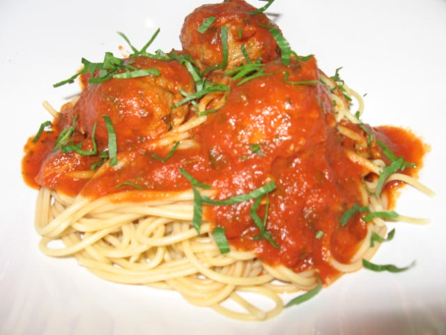 Turkey Meatballs In Marinara Sauce on a plate