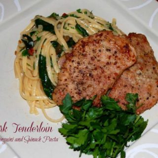 Pork Tenderloin with Linguini and Spinach Pasta