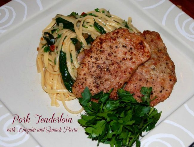 Pork Tenderloin with Linguini and Spinach Pasta