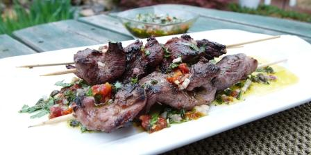 skewers with Italian style chimichurri