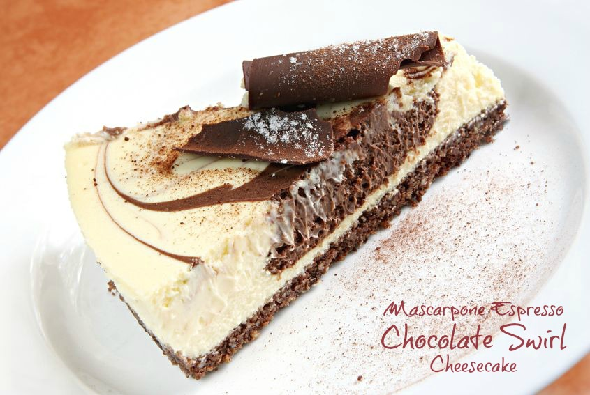 Mascarpone Espresso Chocolate Swirl Cheesecake