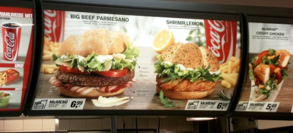 McDonalds Menu in Freiburg Germany