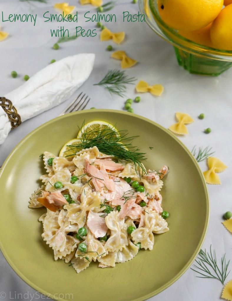 lemony smoked salmon pasta with peas