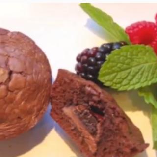 Chocolate stuffed brownies with fruit
