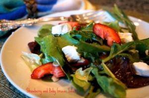 strawberry and baby greens salad