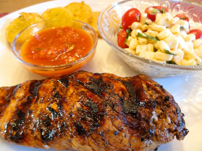 Grilled Balsamic Marinated Chicken Breasts served with sides