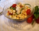 fresh corn salad with cherry tomatoes and mozzarella cheese
