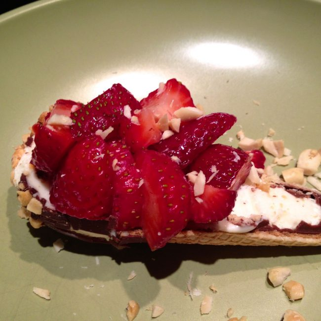 drumstick half with fresh strawberries
