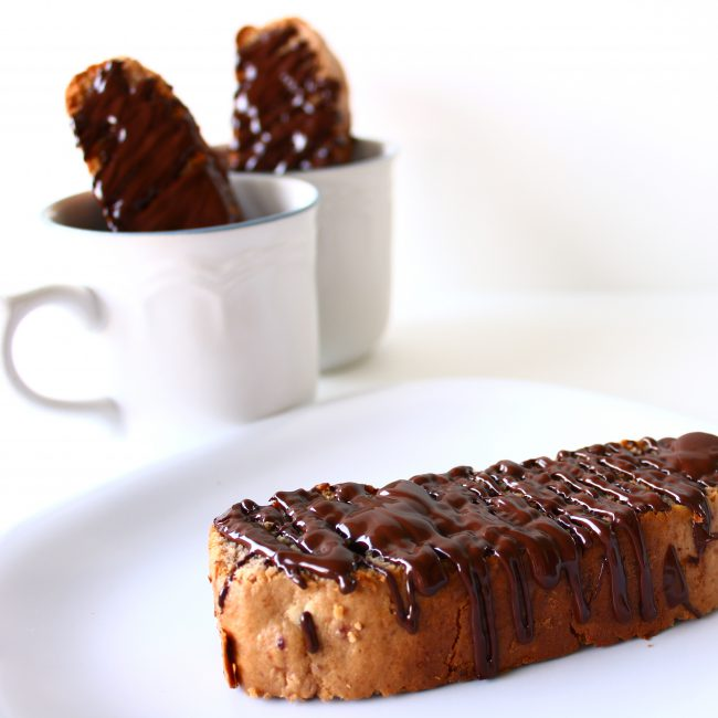 chocolate-dipped mocha biscotti with cups