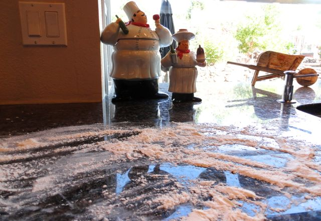 Floured counter for super simple cream biscuits
