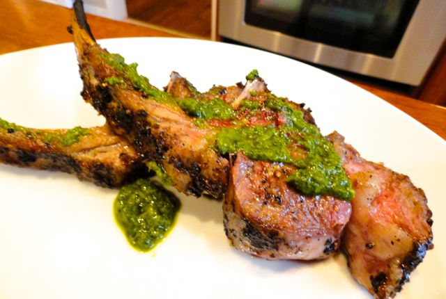 Grilled Lamb Chops with Fresh Herb Pesto